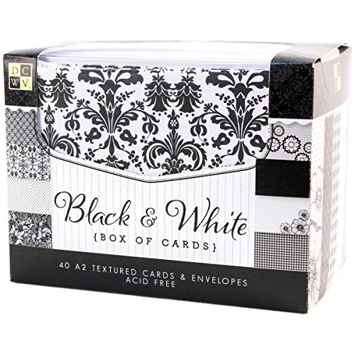 DCWV Cards and Envelopes, Black and White Textured, 40-Pack, Size A2, 4-1/4 x 5-1/2 inches by Die Cuts
