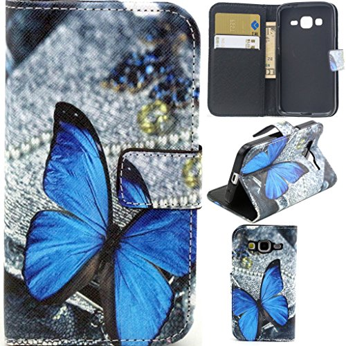 Galaxy Core Prime Case,G360 Case, Gift_Source [Blue Butterfly Pattern] [Stand Feature] Premium Wallet Case [Wallet Function] Flip Cover Leather Case for Samsung Galaxy Core Prime G360 / Prevail LTE