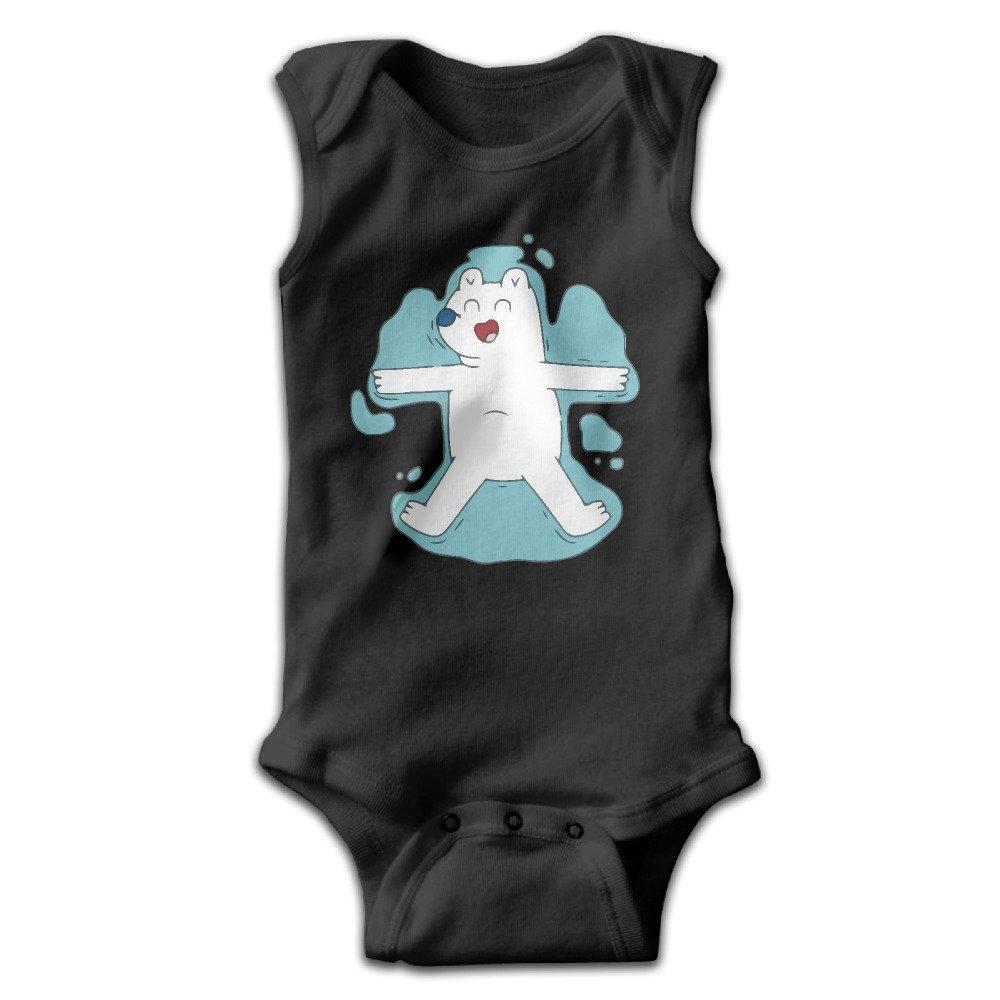 Baby Unisex The Water In The Polar Bear Print Romper Jumpsuit Bodysuit Summer Sleeveless