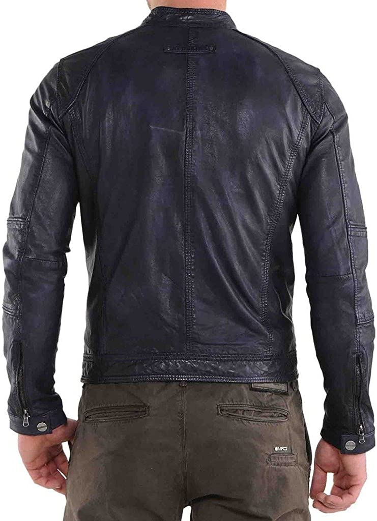 New Mens Leather Motorcycle Jacket Slim fit Leather Jacket Coat A566