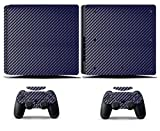 Cosines PS4 Slim Stickers Vinyl Decal Protective Console Skins Cover for Sony Playstation 4 Slim and 2 Controllers Blue Carbon Fiber