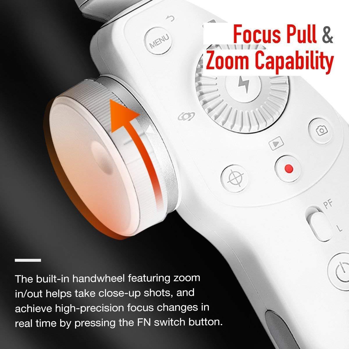 zhiyun Smooth 4 3 Assi Stabilizzatore//Gimbal Portatile per Smartphone a 210g Bianca 12 Ore di Lavoro Continuo