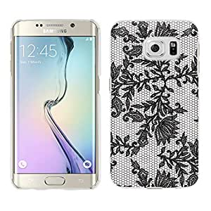 Samsung Galaxy S6 Edge Plus Case, Snap On Cover by Trek Black Leaves Lace on White Case