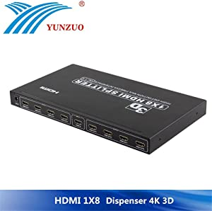 Distribuidor de Video, Divisor 1x8 HDMI Splitter de 8 Puertos V1.3 / V1.4 HDMI 1 In 8 out Soporte 3D, Full HD 1080P, 4Kx2K Pantalla HD en 8 televisores Metal Case