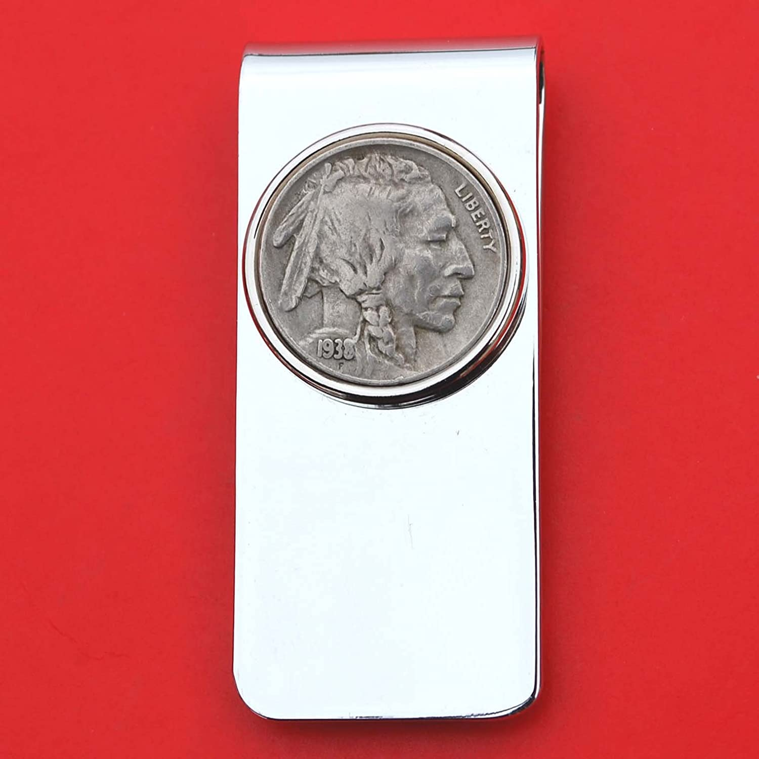 US 1938 Indian Head Buffalo Nickel 5 Cent Coin Solid Brass Silver Money Clip New - High Quality