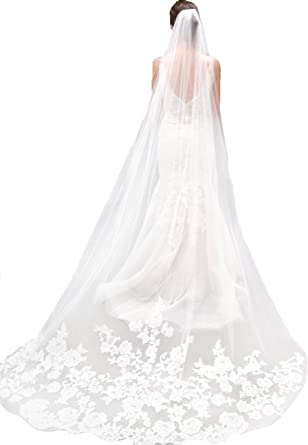 Ivory Aukmla Womens Cathedral Bridal Veils with Comb and Lace Edge