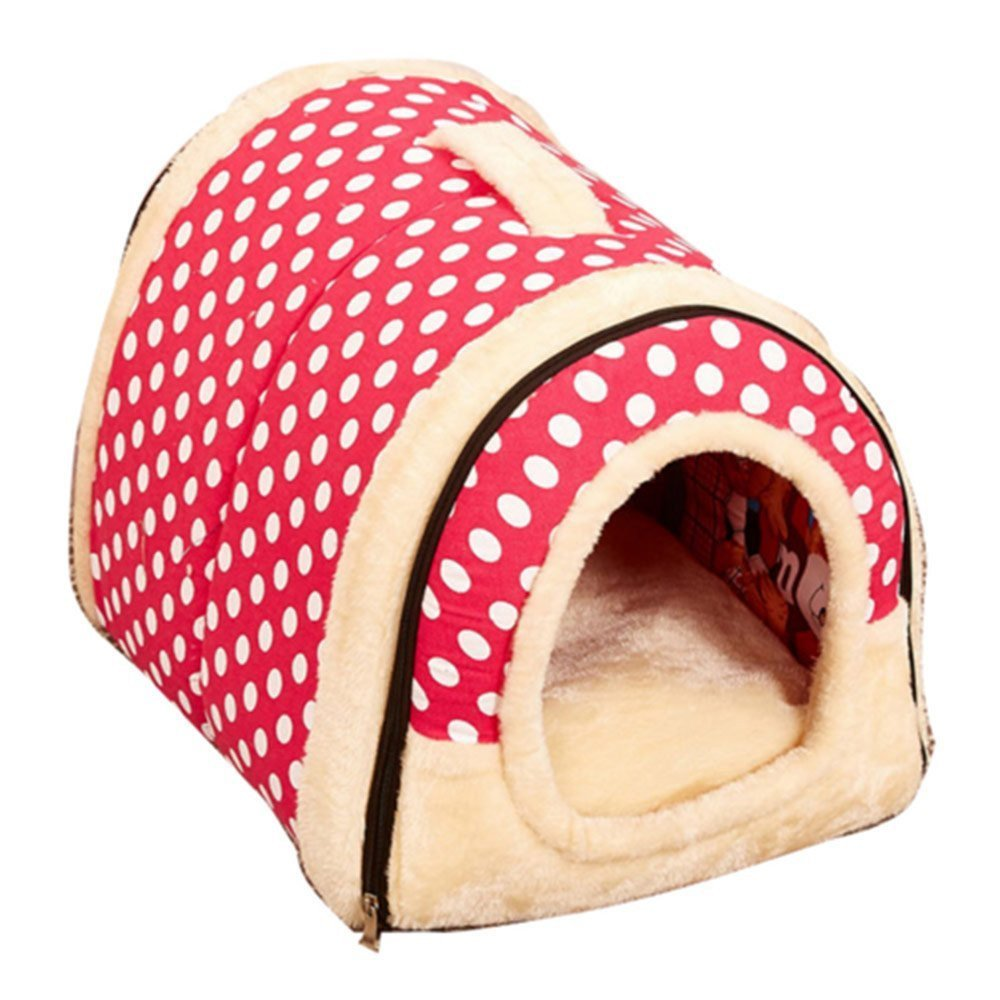 Minkoll Pet House and Sofa, 2 In 1 Super Warm Insulated Padded Cosy Dog Cat Kitten Cave Bed house,Pink dots