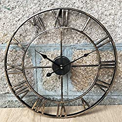 Large 47CM Classic Vintage Cast Iron Wrought Garden Wall Mounted Clock Outdoor