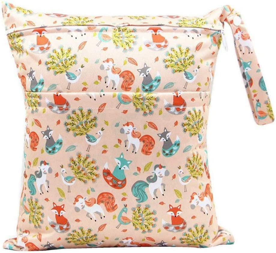Demarkt Baby Diaper Nappy Wet Bag 2-Zip Washable Nappy Bag Colorful Printing Design Storage Bags for Baby Diaper,Daycare
