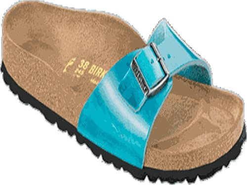 Birkenstock Slipper Madrid Zapatillas Sandalias Cuero Genuino Color Azul Scuba Antiguo -