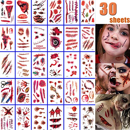 Chucky's Bride Halloween Makeup (Halloween Face Fake Scar Tattoos, 30 Sheets Zombie Makeup Kit Decoration, Realistic Bloody Makeup Face Decorations Fake Injury Wound Tattoo for Halloween Costume for Party Supplies Cosplay)