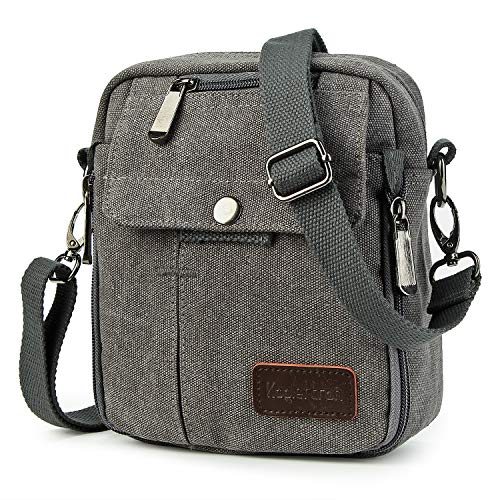 be9306bd1b Koolertron Men Shoulder Bag Small Retro Canvas Satchel Zipped Unisex  Lightweight Long Strap Crossbody Travel Messenger Bags for Phone iPad Mini  Kindle (Grey ...
