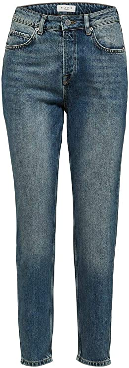 TALLA 30W / 32L. SELECTED FEMME Slffrida HW Mom Mid Blue Jeans Noos W Vaqueros Straight para Mujer