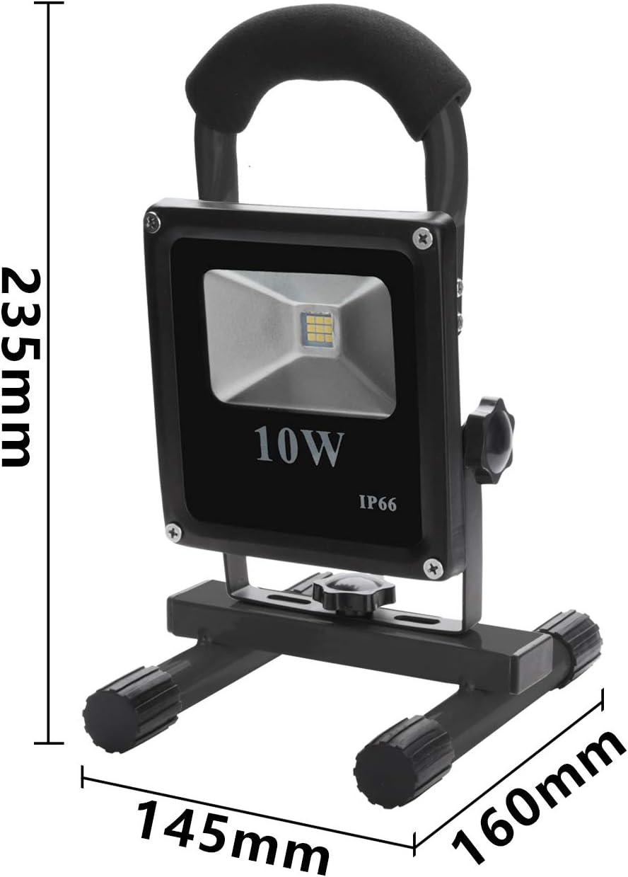 VINGO/® 10W Kaltwei/ß Akku LED 2400MA Flutlicht Ultra Helle Scheinwerfer 900LM Akku Strahler handlampe Tragbare Beleuchtung mit Stativ