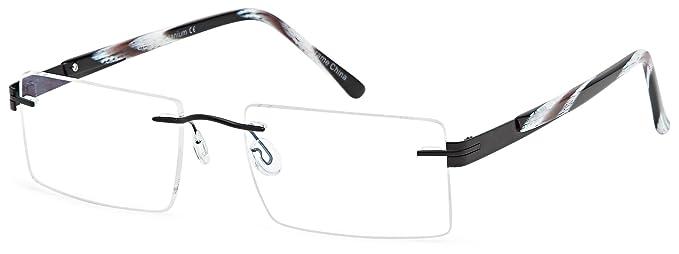 Amazon.com: Titanium Half Rim Black Glasses Frames Prescription ...