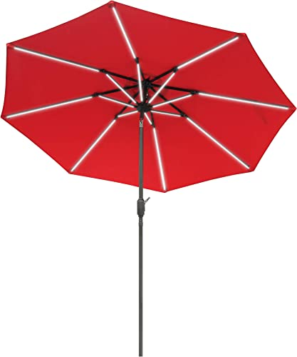 Aok Garden 9 Ft LED Light Bars Patio Outdoor Umbrella Solar Power Market Table Fade-Resistant Umbrella with Push Button Tilt Crank and 8 Sturdy Ribs Coffee Crank, Red