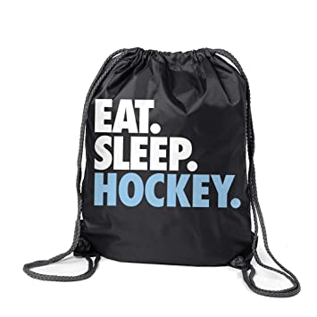 3cdaa84d1d37 Amazon.com | Hockey Sport Pack Cinch Sack | Eat Sleep Hockey | Black ...