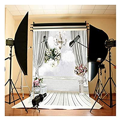 FUT 5x7ft White Wall Beautiful Flowers Wooden Floor Backdrop Background Ideal for Wedding, Birthay Party, Newborn, Children, Product Photography,3-5 Business Days FAST Delivery