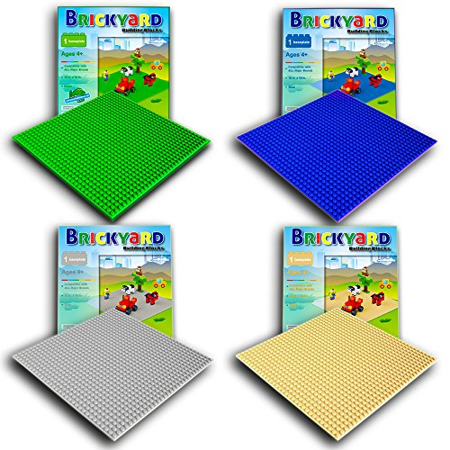 4 Baseplates, 10 x 10 Inches Large Thick Base Plates for Building Bricks by Brickyard, for Activity Table or Displaying Compatible Construction Toys (Green, Blue, Gray, Sand - 4-Pack, Assorted) (Plan City Playmat)