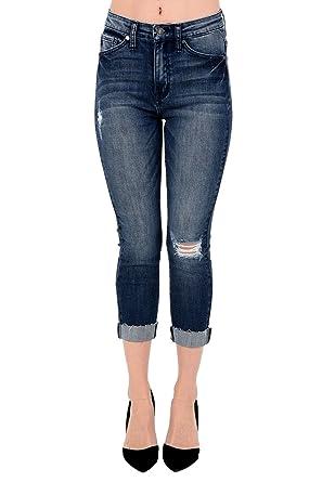 Amazon.com: kan Can Mujer High Rise Skinny Capri Jeans Negro ...