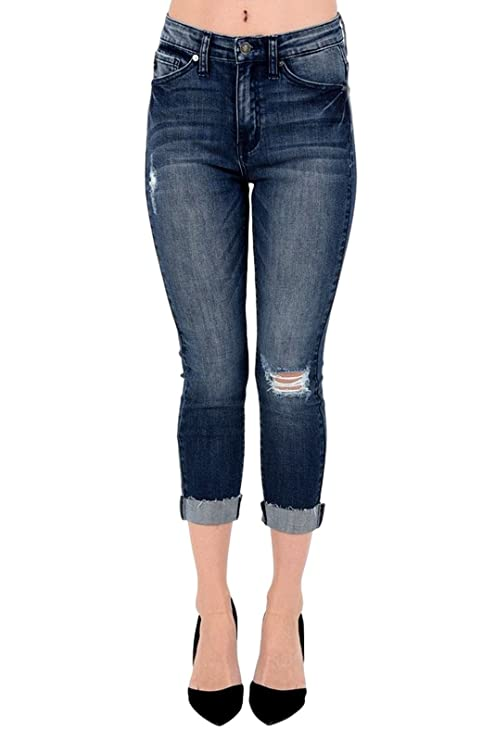 Amazon.com: kan Can Mujer High Rise Skinny Capri Jeans Negro ...