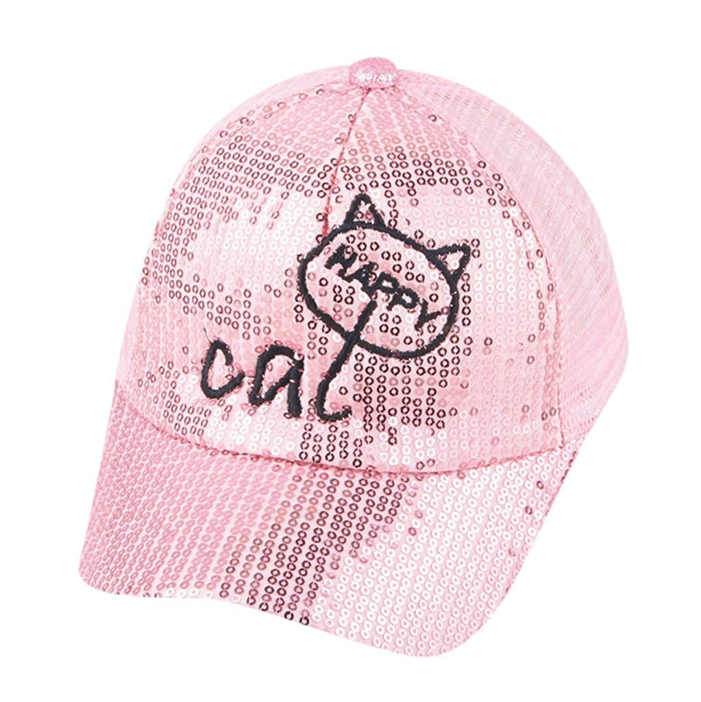 Jonerytime❤️Cute Kids Baby Children Cartoon Cat Student Paillette Hat Baseball Cap Sunhat