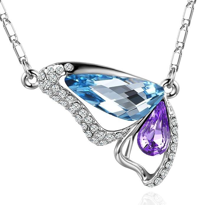 MURTOO Bijoux Femme Sautoir Collier Pendentif forme Papillon par Cristal Swarovski  Elements(Bleu Clair+ Violet)  Amazon.fr  Bijoux 0bcd170d63e9
