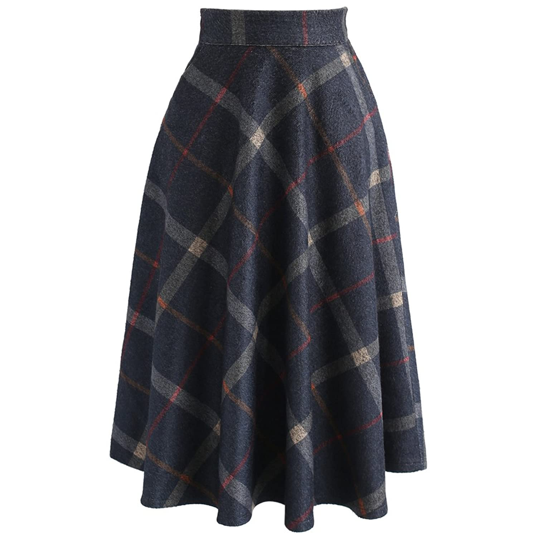Chicwish Women's Navy Check Print Wool-Blend A-Line Midi Skirt