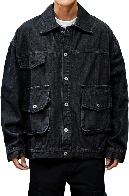 メンズ デニムジャケット 折り襟 マルチポケット 長袖 おしゃれ ブルゾン メタルボタン ゆったり カジュアルジャケット アウター 大きいサイズ