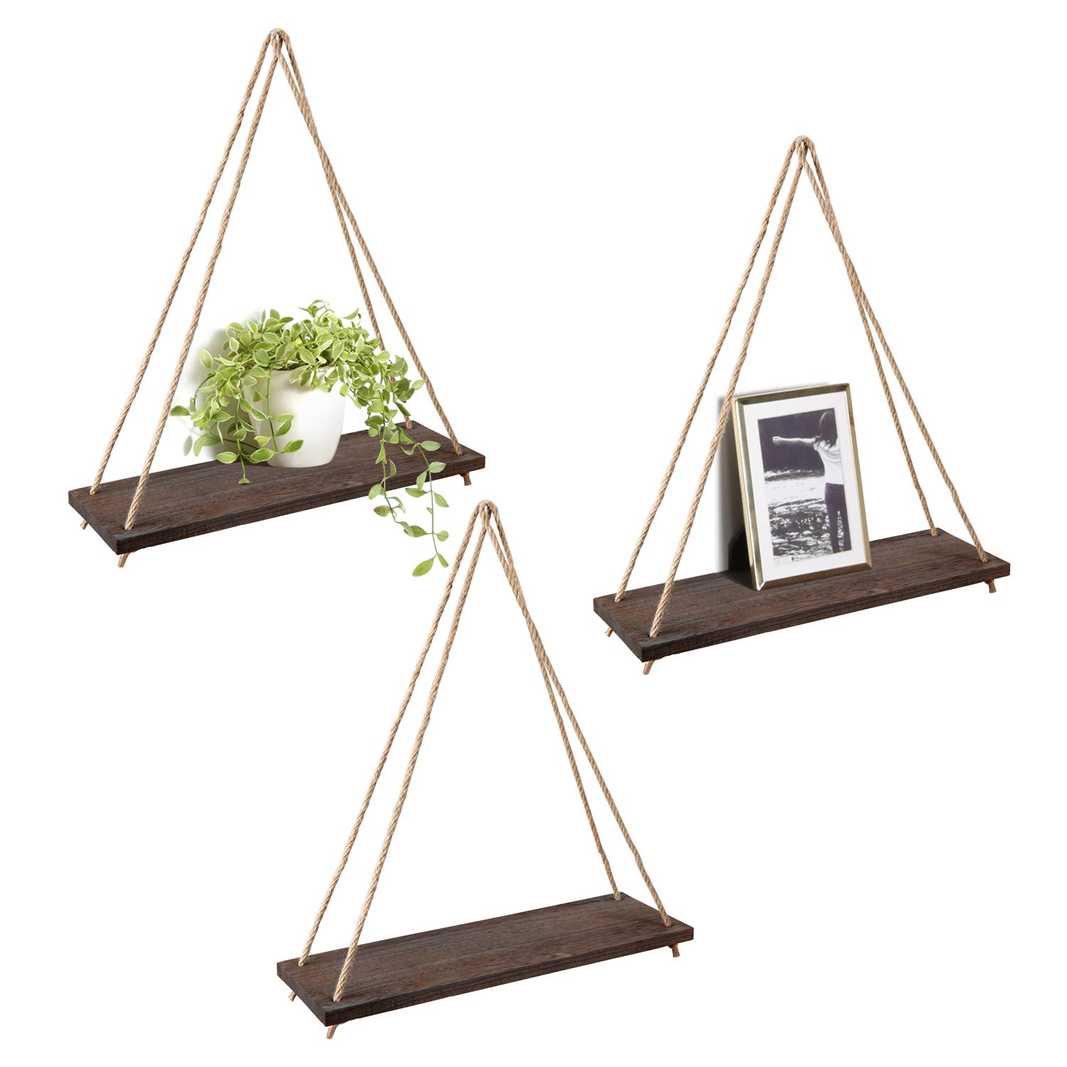 Mkono Wood Wall Floating Shelf Rustic Hanging Swing Rope Shelves, Set of 3 Wall Display Shelves Home Organizer Boho Decor Shelves for Living Room Bedroom Bathroom Kitchen