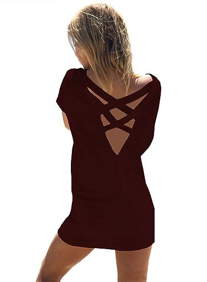 Yingkis Women Casual Summer Bikini Beach Shirt Dress Criss Cross