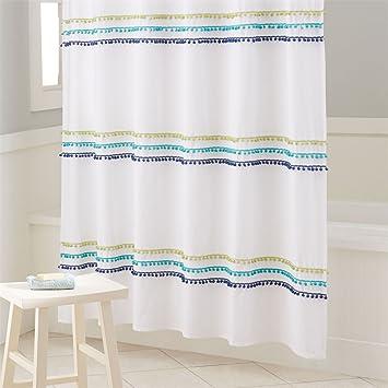 Brylanehome Studio Pompom Shower Curtain Ocean0