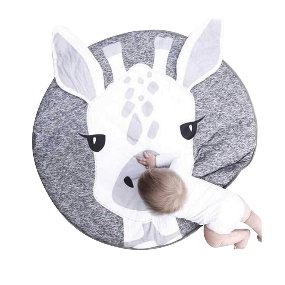 Yamalans 90cm Cotton Panda Deer Round Soft Kids Carpet for Bohemian Style Living Room Hallway Bedroom Giraffe##