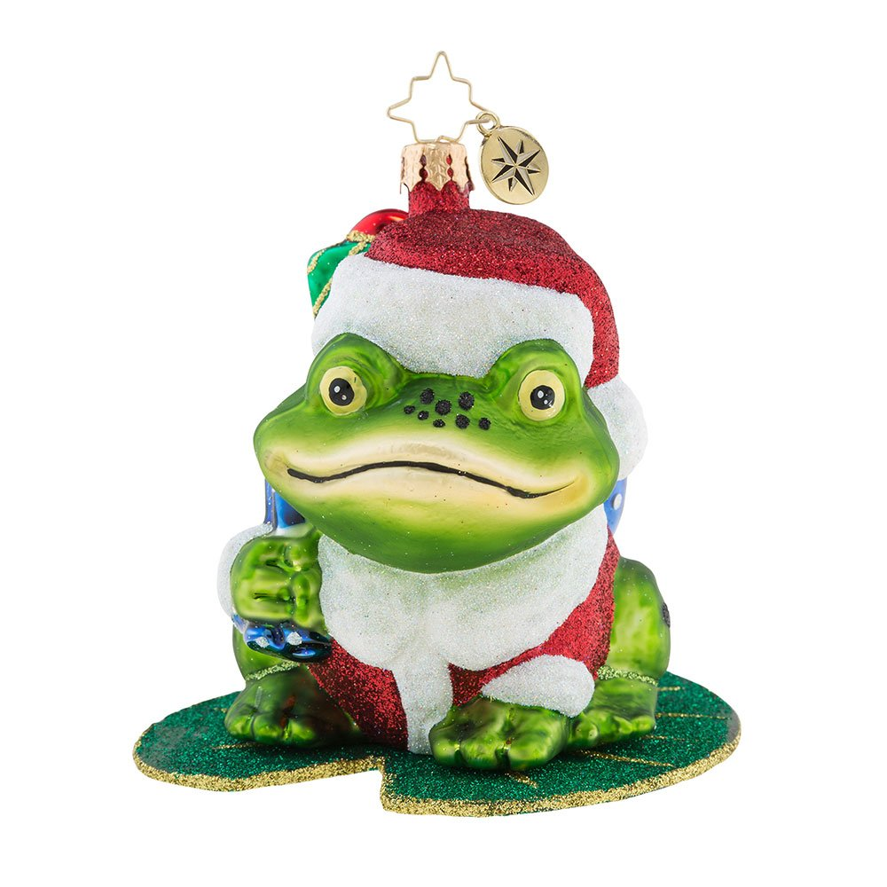 Christopher Radko Lily Pad Prizes Frog Themed Glass Ornament