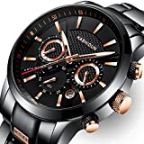 KASHIDUN Men's Watches Luxury Sports Military Army Quartz Waterproof Wristwatch Calendar Date Stainless Steel Band Black Color Rose Gold Hands