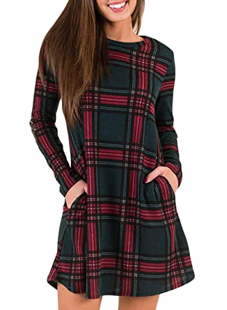 de1b771b17 AlvaQ Women Loose Long Sleeve Checkered Plaid Swing T-Shirt Dress at Amazon Women's  Clothing store: