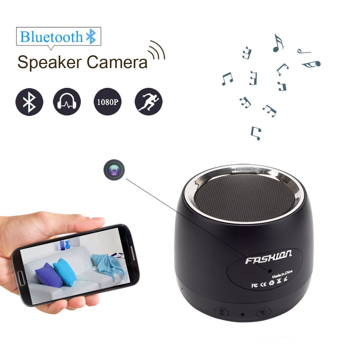 HongSheng 1080P Bluetooth Speaker Wireless Wifi Hidden Camera Motion Detection/Real-Time View/Loop Recording/Music Player, Spy Nanny Cam For Home Security,Capacity Up To 128