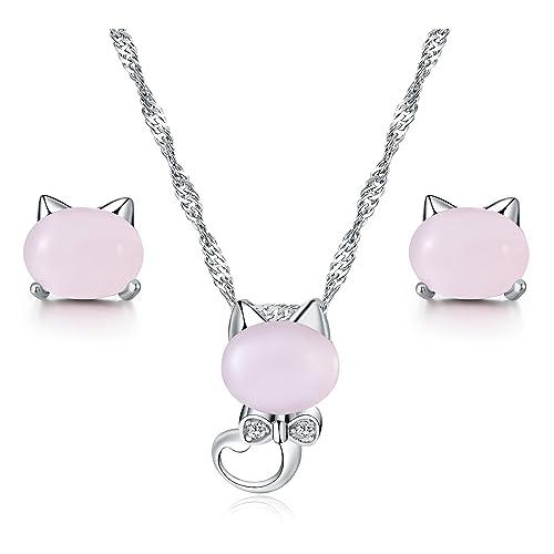 1fb147bd52b1 Majesto Juego de Joyas - Conjunto Colgante de Collar y Pendientes Gato Opal  Cristal para Mujer
