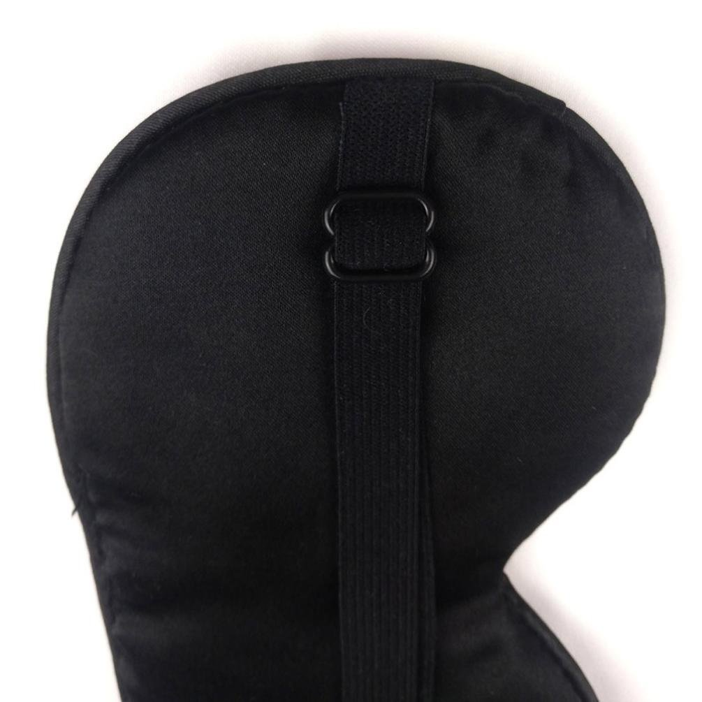 Iuhan 1PC New Pure Silk Sleep Eye Mask Padded Shade Cover Travel Relax Aid (Black) by Iuhan (Image #3)