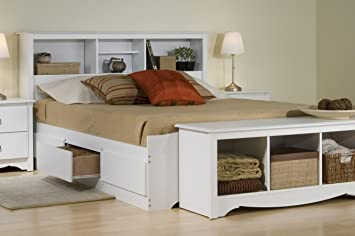 Platform Storage Bed W/ Bookcase Headboard White/Queen