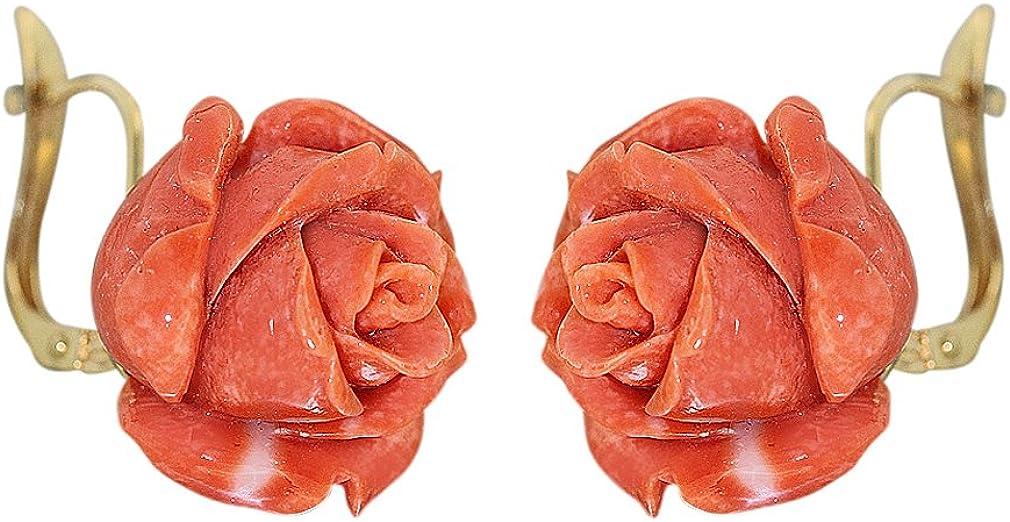 hobra de oro de oído häger Oro 750con rosas de coral pendientes de coral rosas pendientes 18kt