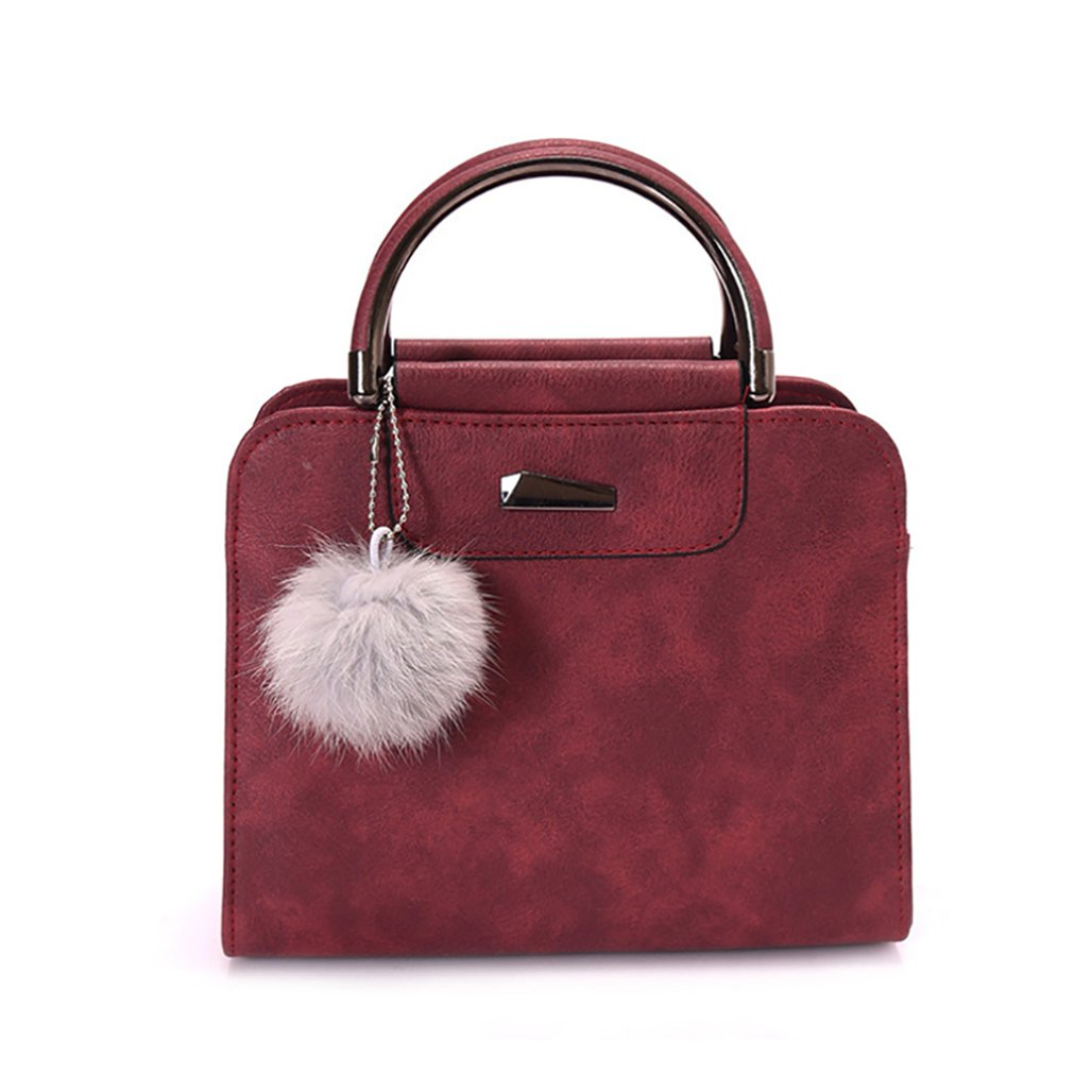 Afco Women's Top-handle Cross Body Handbag Pompom Ball Middle Size Purse Tote Bag (Wine Red)