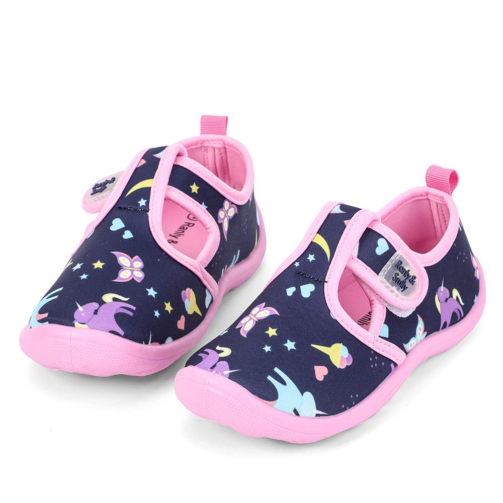 nerteo Boys Girls Cute Aquatic Water Shoes   Rainbow, Dinasour, Unicorn, Shark   Toddler/Little Kid