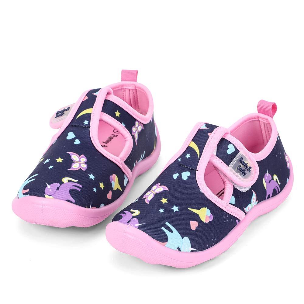 nerteo Water Shoes Girls Kids Walking Sneakers Sandals for Beach/Camp/Pool Swim Navy/Pink/Unicorn US 7 Toddler