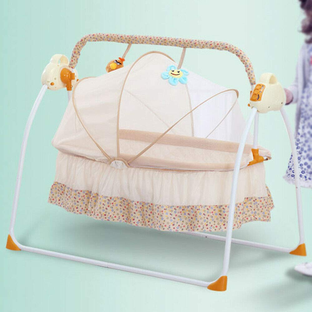 Berkalash Automatik Babyschaukel S/äugling Bequemer Shaker Sicher Elektrisch Baby-Wiege Wippe mit Matte MP3-Musikwiedergabefunktion Blau