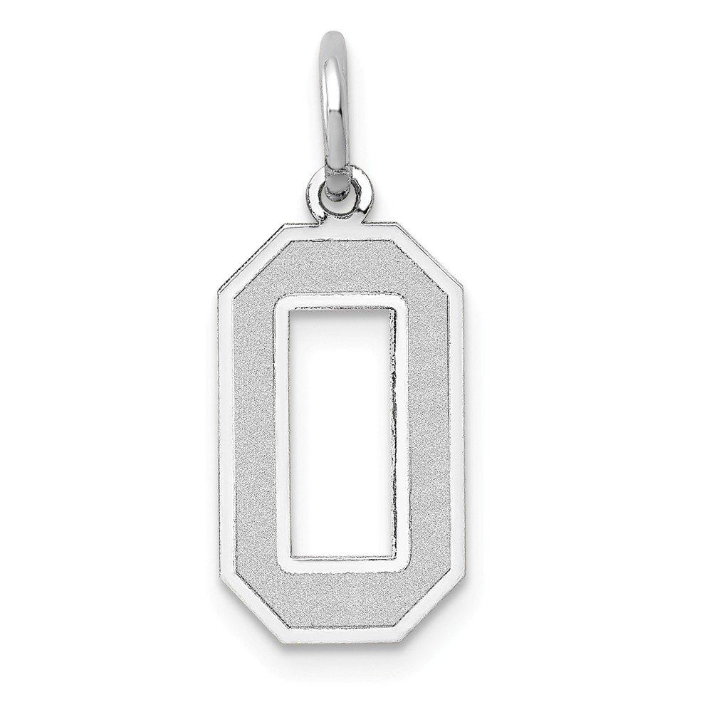 14k White Gold Medium Satin Number 0 Charm