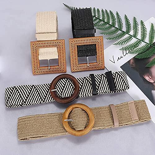 Set of 4 Straw Woven Elastic Stretch Waist Belts for Women, Fashion Boho Ladies Braided Rattan Dress Belt
