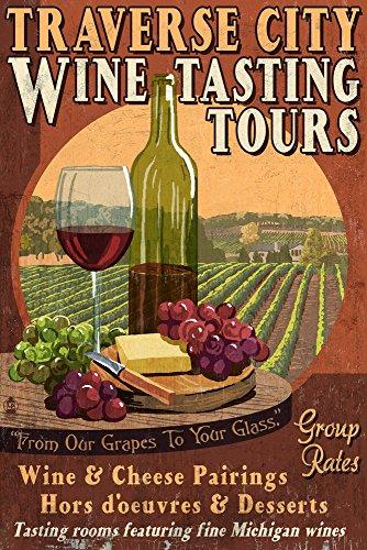 Traverse City, Michigan - Wine Tasting Vintage Sign (9x12 Collectible Art Print, Wall Decor Travel Poster)