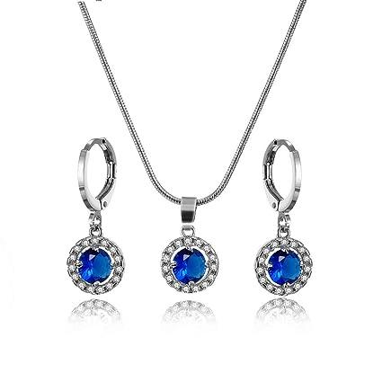 415cf600ec25 Conjunto de joyas cristales de zirconia colgante collar y pendientes para  niñas regalos y uso diario