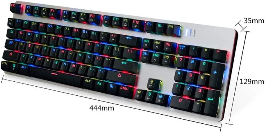 Graphite Full Color RGB Game Mechanical Keyboard and Mouse Set WYKDL Keys Advanced Wireless Illuminated Keyboard Green Axis USB Interface Wired Keyboard//Esports Game